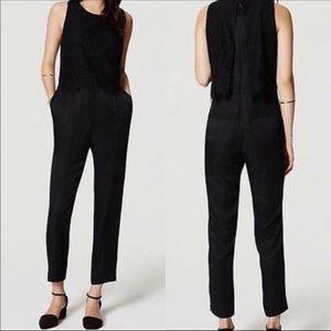 Loft solid black jumpsuit pocketed sleeveless